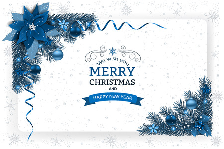 クリスマスの装飾とパプと背景。クリスマスの花、ボール星とリボンで装飾的なクリスマスお祝い背景。 写真素材 - 89225972