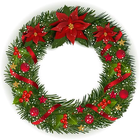 モミの枝を持つクリスマスリースクリスマス flowe、ベリーや装飾的な要素。 写真素材 - 89504593