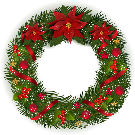 Christmas Wreath with fir branches Christmas flowe,  berry and decorative elements. Illustration