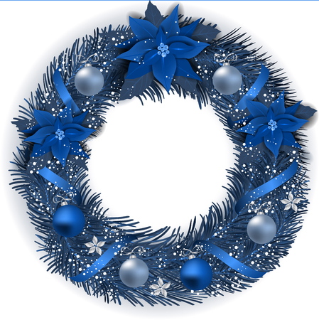 Christmas Wreath with fir branches Christmas flowes, balls and decorative elements.