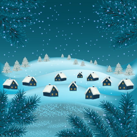 New year and Christmas greetings design. Winter holidays landscape. Background with snowflakes Christmas tree and houses.