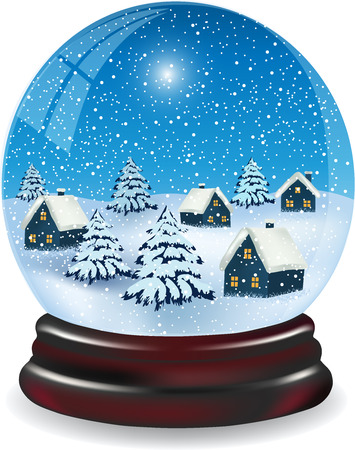 Snow Globe with a snowy Christmas Village. Background with snowflakes Christmas trees and houses isolated on a white background
