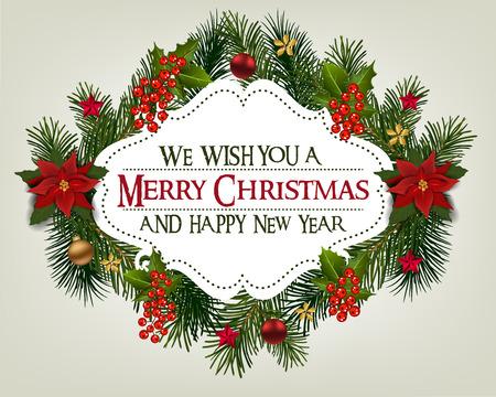 モミ枝罫線と装飾的な要素のクリスマス カード。クリスマス ツリー、ボール、星やその他の装飾品の境界線。クリスマスと新年のグリーティング カード 写真素材 - 89932584