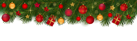 Festive Christmas background of fir branches, with red and golden globes and other ornaments, isolated on white. Illustration
