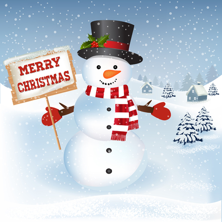 New year and Christmas greetings design. Winter holidays landscape. Background with snowman, houses and trees