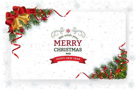 装飾と紙とクリスマスの背景。ベルの星やリボンと装飾的なクリスマスのお祝いの背景。 写真素材 - 90434794