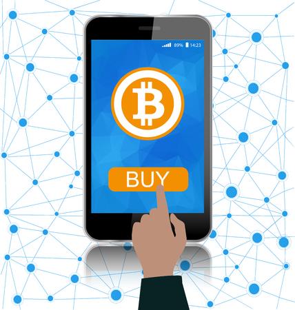 暗号のオンライン決済の概念。スマート フォン画面上の bitcoin シンボル。接続のグローバル ビジネス コンセプト。 写真素材 - 90922067