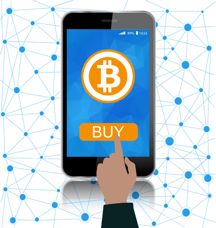Online crypto payment concept.Smartphone with bitcoin symbol on screen.Global business connection concept.