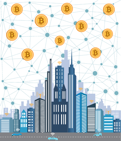 Bitcoin concept and network of connected icons.Business financial network city background.Global business connection concept. Illusztráció