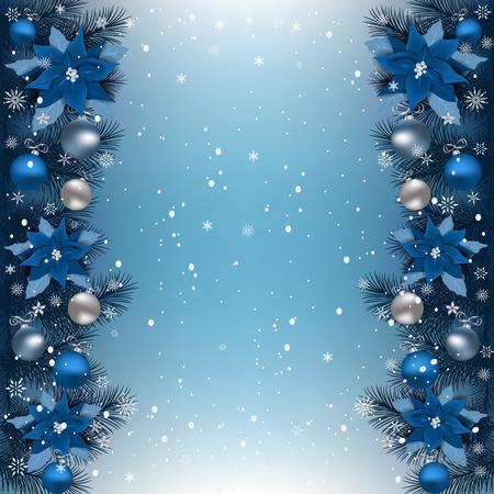 モミの枝の境界線を持つクリスマスの背景。クリスマスの国境、クリスマスの花ポインセチア、星や他の装飾品。 写真素材 - 91174889
