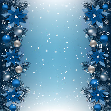 Christmas background with fir branch border. Christmas border with, Christmas flowers Poinsettia, stars and other ornaments. Illustration