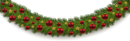 Seamless Christmas border with fir branches  and decoration isolated on white background. Christmas decoration