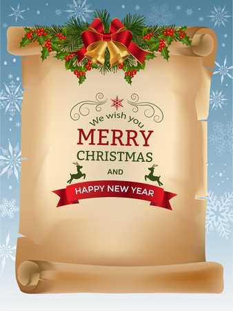 Christmas Background with Jingle bells red bow and fir tree branches on old scroll paper