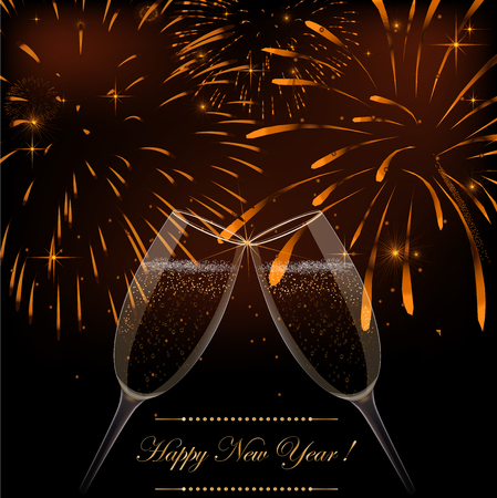 New Year fireworks and champagne glasses Background with fireworks
