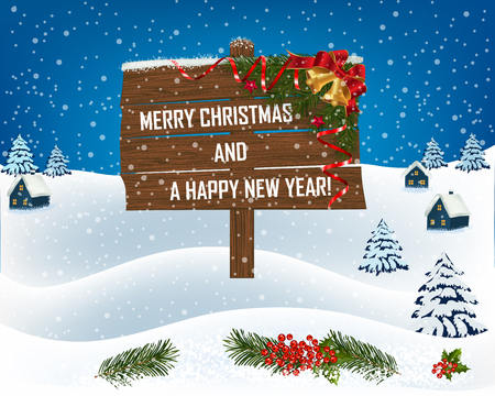 New year and Christmas greetings design. Winter holidays landscape. Background with wooden sign houses and trees