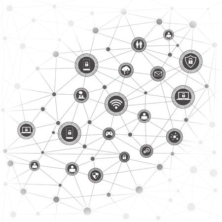 無線通信ネットワーク。インターネットネットワーキングの概念。モノのインターネットは、アプリケーションと共にクラウド化されます。 写真素材 - 94982568