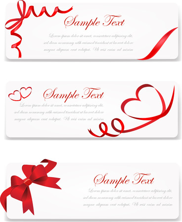 A set of vector banners decorated with red ribbon and red hearts.