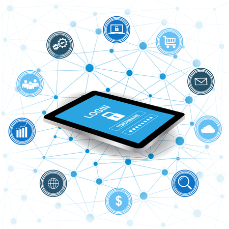 Cyber Security concept.Tablet with security protection and icons for web.Internet security. Protected computer networks