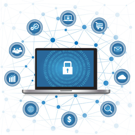 Cyber Security concept.Laptop with security protection and icons for web.Internet security. Protected computer networks