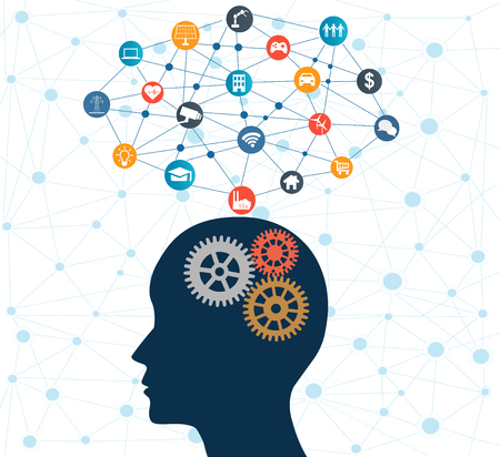Concept of Artificial Intelligence with Gears on Human head. Networks Design Concep with Icons on background