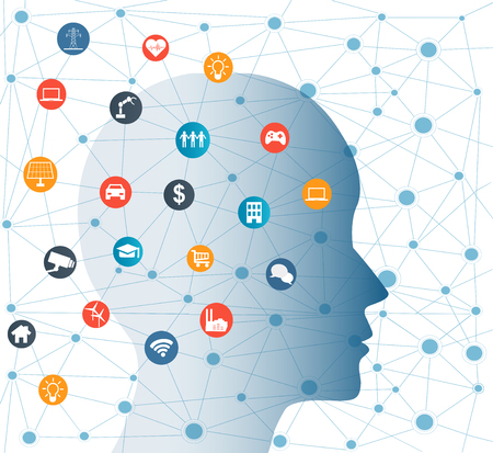 Concept of Artificial Intelligence with Icons on Human head. Networks Design Concep with Icons on background Illustration