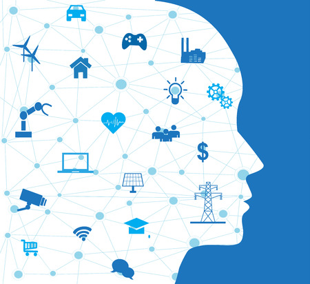 Concept of Artificial Intelligence with Icons on Human head. Illustration