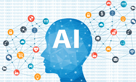 Concept of Artificial Intelligence with Human head and different icons. Digital Network Connection Modern communication technology.