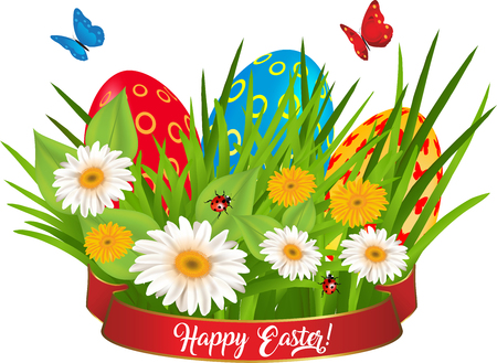 Multicolored eggs in a grass with daisy and butterfly Vector illustration. Illustration