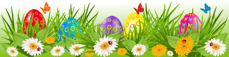 Easter eggs border with multicolored eggs in a grass with daisy and butterfly