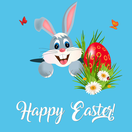 Happy Easter greeting card with green grass, flowers, Easter eggs and hiding bunny.Vector illustration