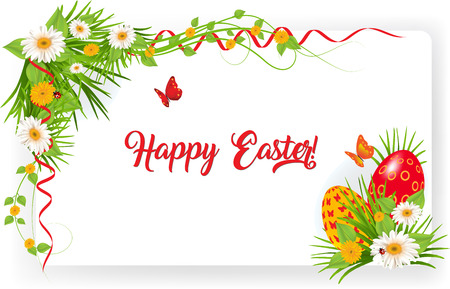 Happy Easter greeting card with green grass flowers Easter eggs Illustration