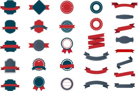 Set of vintage Labels, Ribbons, Sticker and Badges design elements.