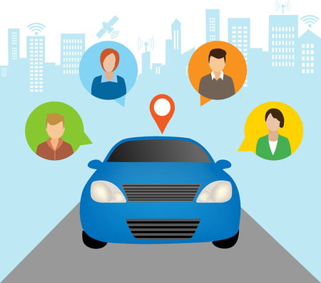 Car Sharing Concept.Social travel concept Çizim