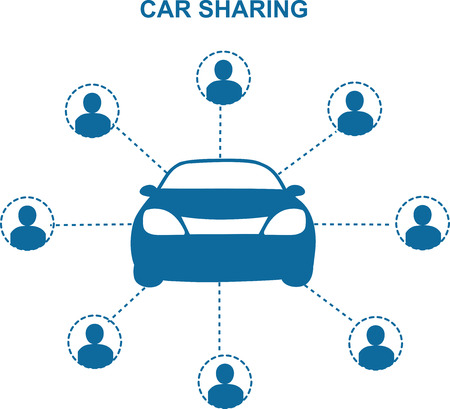 Car Sharing Concept.Social travel concept.Car share with group of people Çizim