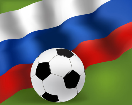 Football with Russian flag background