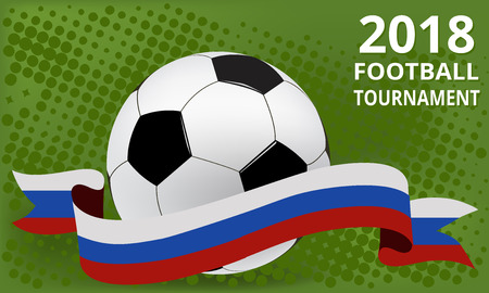 Football 2018 world championship cup.Background in Russia flag colors Illustration