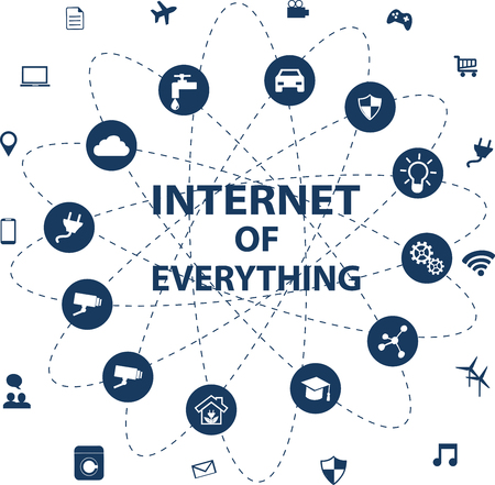 Internet of everything (IOT) concept with different icon and elements. Digital Network Connections