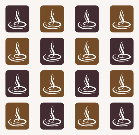 Seamless pattern with steaming silhouettes over coffee cup.Seamless pattern background.