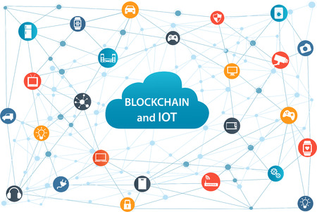 Internet of things concept and Blockchain technology Smart Home Technology Internet networking concept. Internet of things Cloud with apps.