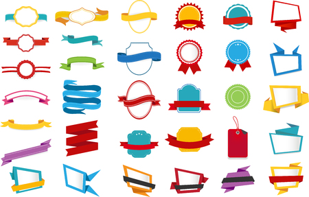 Vector design collection of Ribbons Labels Stickers Banners Tags Banners Template design elementWeb Stickers, Tags, Banners and Labels for advertising and app. Illusztráció