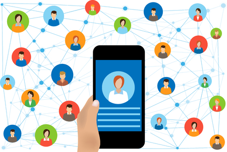 Social network connection and global business communication concept. Connecting people  Internet Network Connection.Social Network Vector Concept Illustration
