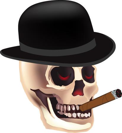 Halloween skeleton with top hat.Grim Reaper smoking skull vector Illustration