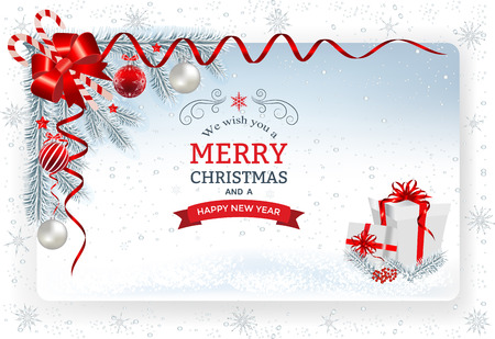 Christmas background with decoration and paper.Decorative Christmas festive background with Christmas balls stars and ribbons.