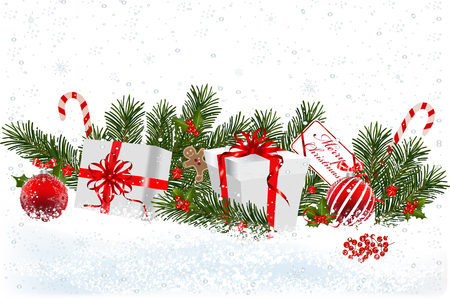 Christmas background with fir branch border with balls, ribbons and Christmas decorations.Decorative Christmas festive background with Christmas presents.