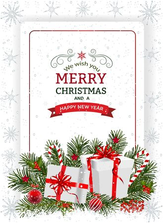 Christmas background with decoration and paper. Decorative Christmas festive background with Christmas flowers, balls, presents, stars and ribbons.