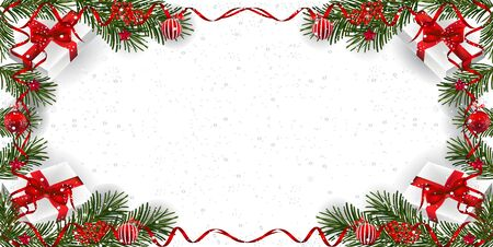 Christmas background with decoration. Decorative Christmas festive background with Christmas snow, balls, gifts, stars and ribbons.