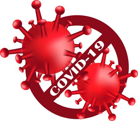 Stop Covid-19.Sign and Symbol for viral disease cell Covid-19. Dangerous virus vector illustration conceptPandemic medical health sign