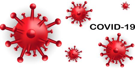 Background with COVID-19 viral disease cell.Covid-19 dangerous virus vector illustration.Pandemic medical health background with disease cell named COVID-19.