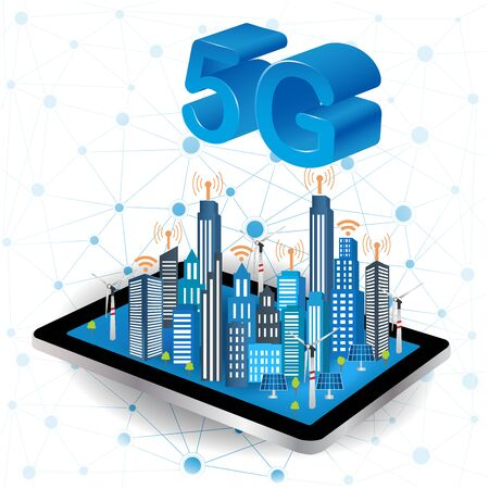 Concept of 5G internet connection technology. Smart City on a digital touch screen tablet with different icon and elements and environmental care.