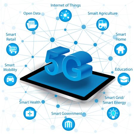 Internet networking concept and 5G technology.Network in background  with different icon and elements.Internet of things/Smart city and 5G technology 向量圖像